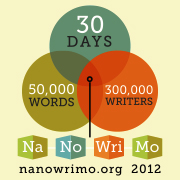 Illustration of the NaNoWriMo badge, showing a Venn Diagram of 30 Days, 50,000 Words, and 300,000 writers coming together to form NaNoWriMo.