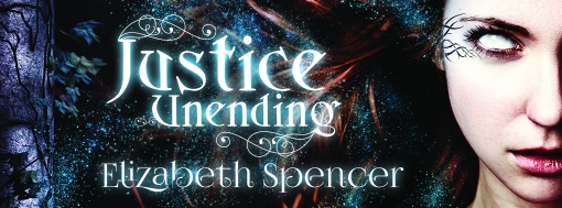 Banner with part of the cover for the novel Justice Unending, by Elizabeth Spencer.