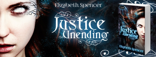 Banner for Justice Unending, showing the title, the author (Elizabeth Spencer), and the book cover.
