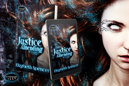 Photo of the book Justice Unending, on tablet and in paperback format.