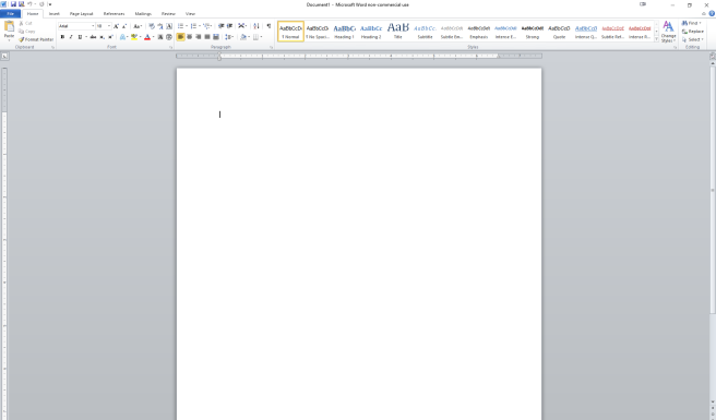 A screenshot of an empty file in Word.