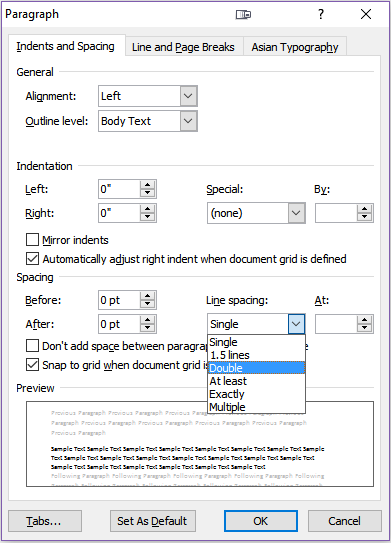 A screenshot of Word's Paragraph: Indents and Spacing tab.