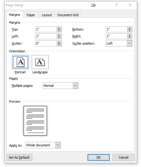 "Screenshot of the Page Setup section, showing all margins at 1""."