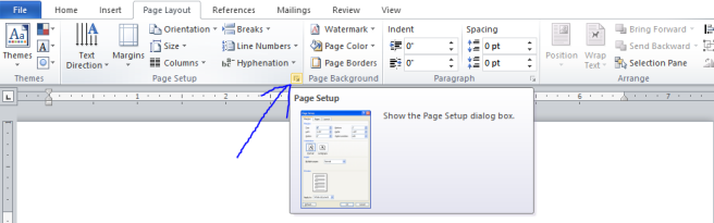Screenshot of the Page Layout tab, showing the Page Setup section.