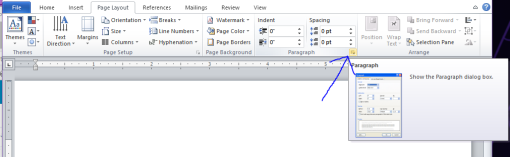 Screenshot of the Page Layout tab, showing the Paragraph section.