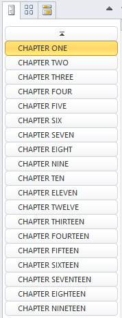 The Browse Headers button showing all the chapters in a document.