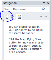 "The MS Word Navigation Pane with the ""Browse the Headings in your Document"" button circled."