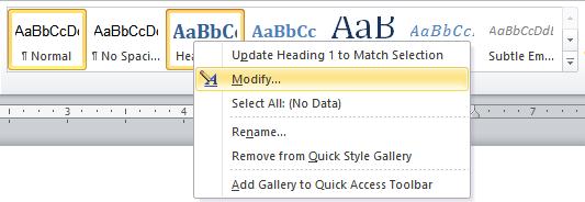 Screenshot of styles tab showing Heading 1