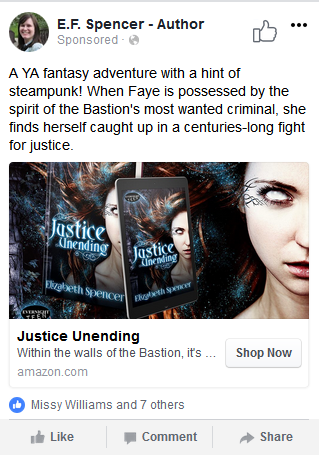 The JUSTICE UNENDING Facebook ad.