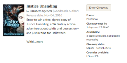 Screenshot of the Goodreads Giveaway for Justice Unending.