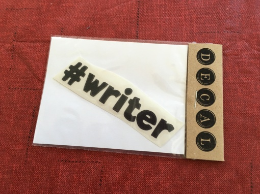 Decal that reads #WRITER.