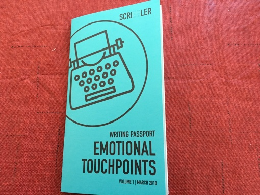 Small, stapled pamphlet reading 'Writing Passport: Emotional Touchpoints, Volume 1, March 2018.'
