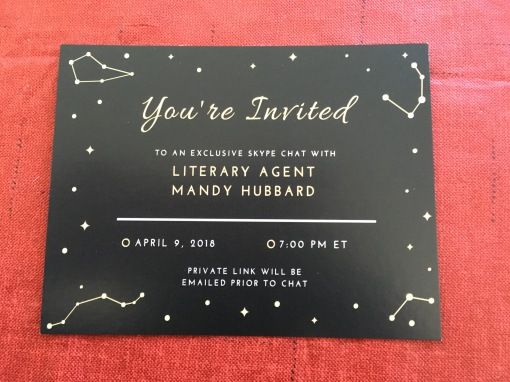 An invitation to an exclusive skype chat with Literary Agent Mandy Hubbard. Explains that a private link will be emailed before the chat.
