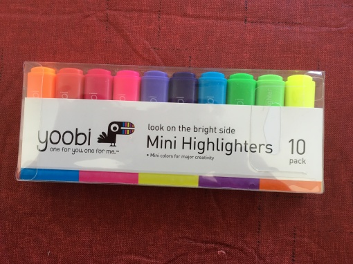 A set of 10 Yoobi mini-highlighters in a rainbow of colors.